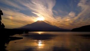 富士山 夕日 山中湖