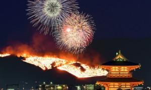 若草山の山焼き 花火