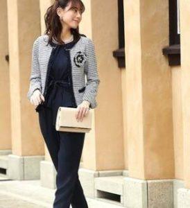 入学式 母親 服装 パンツスーツ ネイビー