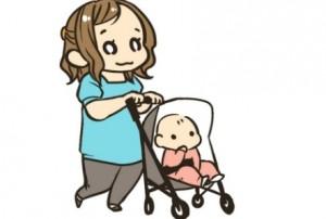 女性 乳母車