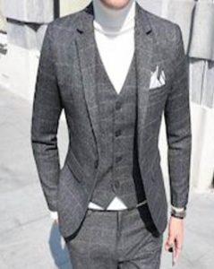 メンズ グレーのスリムスーツ