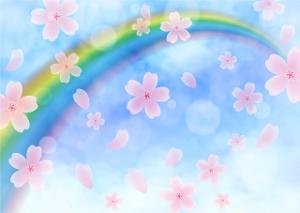 虹 舞う桜 イラスト