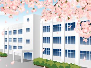 学校の校舎と桜 イラスト