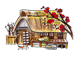 小正月 古民家と梅の花 イラスト