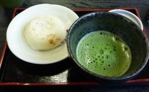 梅が枝餅 お茶