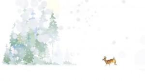 雪景色 鹿