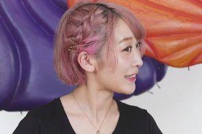 ショート 髪型 女性 編み込み