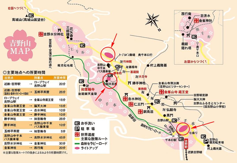 吉野山 桜 ライトアップ 地図