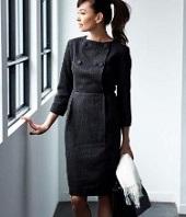 カジュアルデザイン 黒のスカートスーツ
