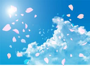 青空に舞う桜吹雪 イラスト
