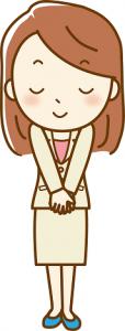 お辞儀するスーツ姿の女性 イラスト