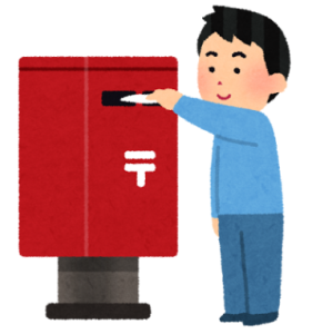 郵便ポストに手紙を入れる男性 イラスト