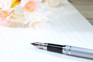 手紙と花とペン