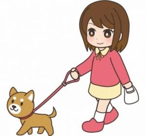 女の子 犬の散歩 イラスト