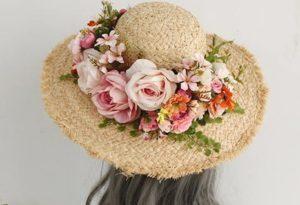 麦わら帽子 花かんむり