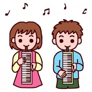女の子 男の子 鍵盤ハーモニカ イラスト