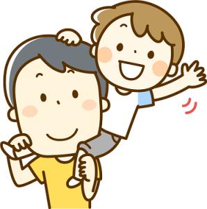 男の子を肩車する父親 イラスト
