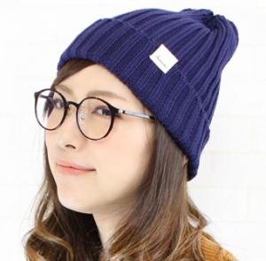 サマーニット帽 女性 メガネ
