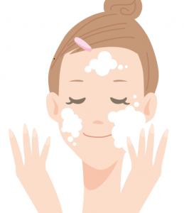 洗顔をする女性 イラスト