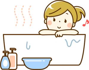 湯船に浸かってくつろぐ女性 イラスト