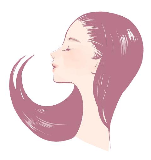 女性 長い髪 横顔 イラスト