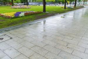 雨に濡れた公園