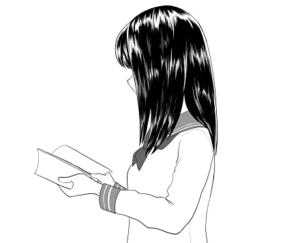 読書をする女子 イラスト