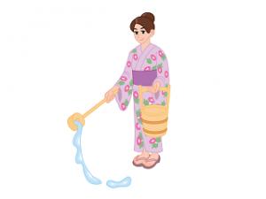 女性 打ち水 イラスト