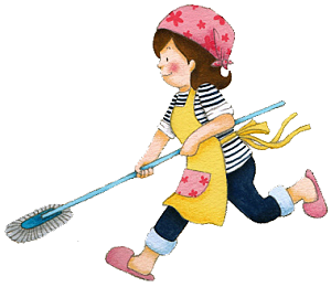 掃除する女性 イラスト