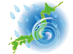 日本列島 台風の図 イラスト