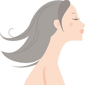 横顔 女性 ロングヘアー