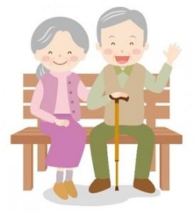 ベンチに座っている笑顔の老夫婦 イラスト