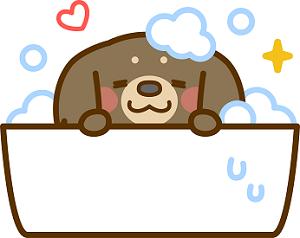 お風呂でくつろぐ犬 イラスト