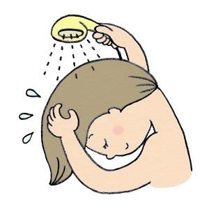 シャワーを浴びる女性 イラスト
