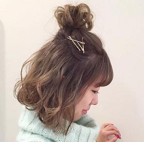 ハーフアップお団子 髪型