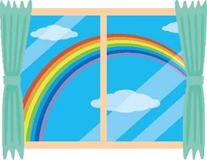 窓から見える虹 イラスト