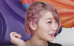 ショートヘア サイド編み込み 女性