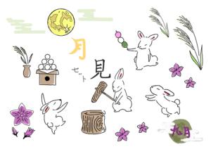お月見 うさぎ イラスト