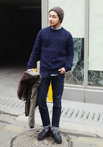 畦編みのニット帽 セーター メンズコーデ