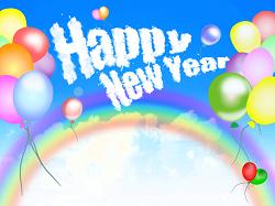 Happy New Year 虹 風船 イラスト
