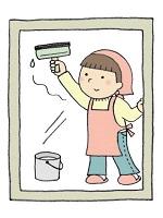 スクイージーで窓掃除する主婦 イラスト