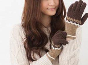 女性 手袋 茶色