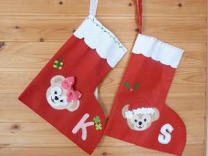 手作り クリスマスの靴下 フェルトワッペン