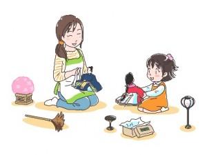 ママ 子供 雛人形 イラスト