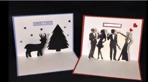 飛び出すクリスマスカード 手作り モノトーン