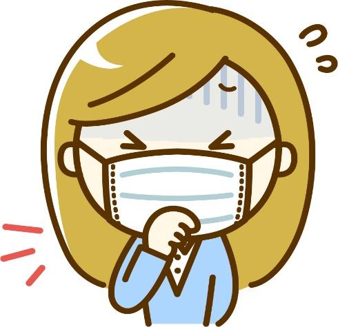 風邪で咳をするマスクを付けた女性 イラスト