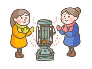 ストーブで温まる女性 二人 イラスト 冬