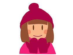 帽子と手袋をした女性 イラスト