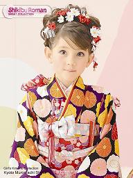 七五三 女の子 洋風アップスタイルの髪型 髪飾り