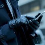 ビジネスマン スマホ 手袋